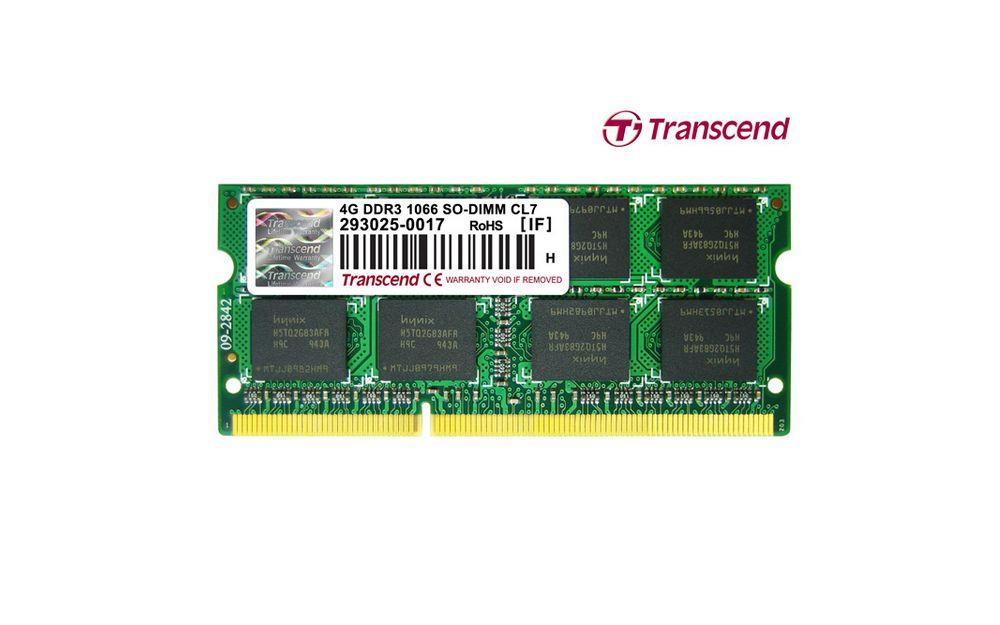 Transcend 4 GB DDR3 1066 MHz CL7 Notebook Rami TS512MSK64V1N